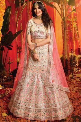 Most Popular White Color Pure Organza Bridal Wear Lehenga Choli Design