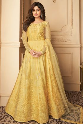 Most Popular Yellow Color Butterfly Net Festive Anarkali Suit