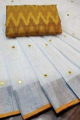Most Super Hit White Color Linen Saree Online