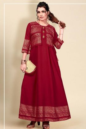 Most Trending 14 Kg Heavy Rayon Maroon Color Kotti Style Long Gown