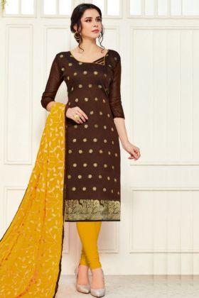 Most Trendy Banarasi Silk Brown Color Dress Material For Pretty Women