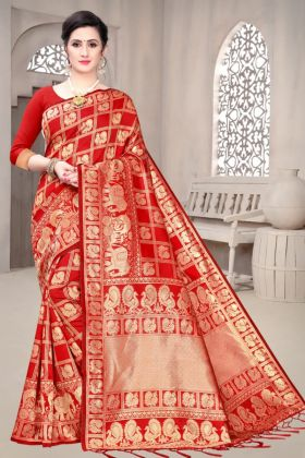 Most Trendy Woman's Banarasi Soft Silk Red Color Saree With Low Rate