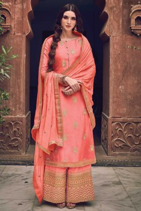 Mostly Like Peach Color Jacquard Silk Collection For Wedding