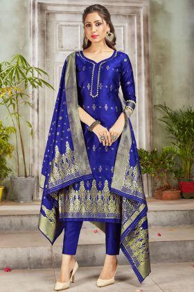 Mostly Like Royal Blue Color Banarasi Art Silk Salwar Suit