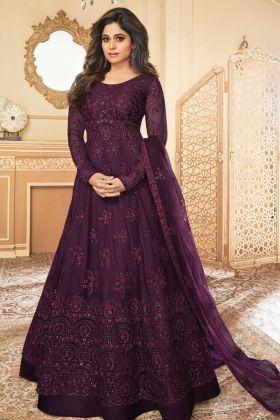 Mostly Like Wine Color Butterfly Net Designer Anarkali Suit