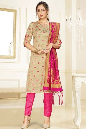 Mostly Liked Weaving Work Beige Banarasi Art Silk Salwar Suit