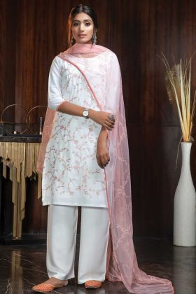 Mostly Liked White Thread Embroidery Work Georgette Suit
