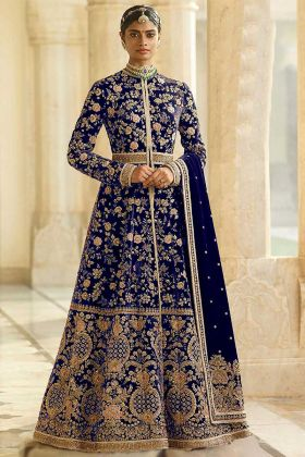 Moti Work Blue Color Velvet Anarkali Dress