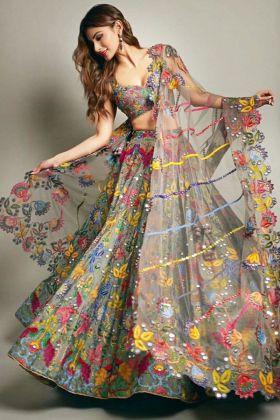 Mouni Roy Sage Gray Color Taffeta Silk Party Wear Lehenga Choli