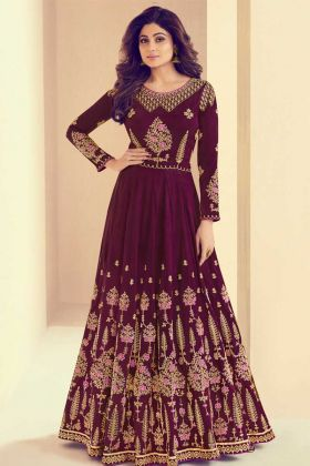 Mulberry Silk Anarkali Dress Embroidery Work In Purple Color