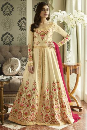 Mulberry Silk Anarkali Salwar Kameez Thread Embroidery Work In Cream Color