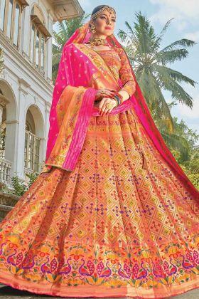 Multi Color Bridal Lehenga Choli In Banarasi Silk Buy Online