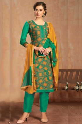 Multi Color Coton Jacquard Salwar Suit