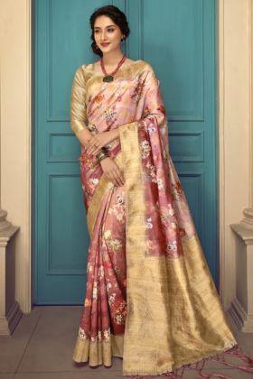 Multi Color Designer Art Silk Digital Printed Saree Online