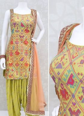 Multi Color Digital Printed Patiala Suit