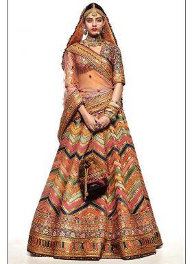 Multi Color Digital Printed Wedding Lehenga Choli