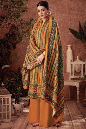 Multi Color Party Wear Pure Wool Pashmina Plazzo suit
