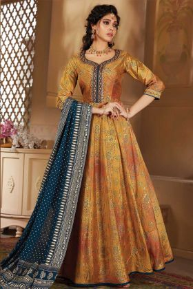 Multi Color Party Wear Silk Fabric Designer Anarkali Suit
