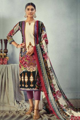 Multi Color Pure Cambric Cotton Designer Printed Salwar Suit