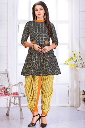 Multi Color Pure Cotton Party Wear Kurti With Dhoti Set