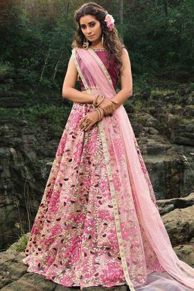 Multi Color Soft Net Embroidery Work Wedding Lehenga Choli