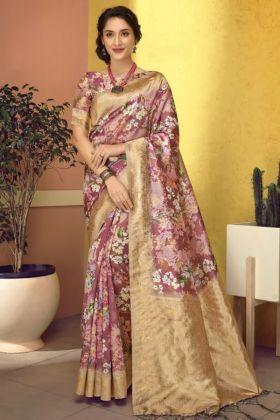 Multi Color Wedding Art Silk Digital Printed Heavy Saree