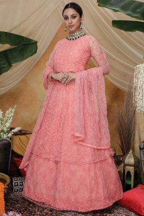 Multi Thread Embroidery Work Pink Lehenga Style Gown