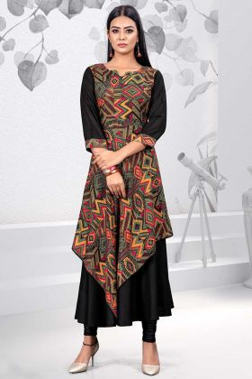 Multi and Black Color Rayon Party Wear Kurti
