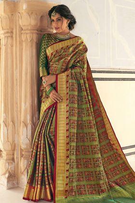 Multi Banarasi Weaving Silk Saree