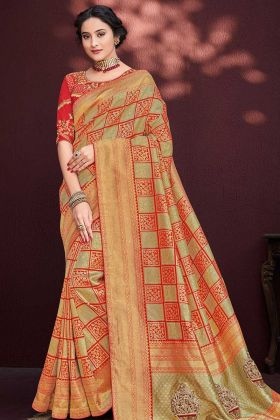 Multi Color Banarasi Silk Jacquard Designer Saree