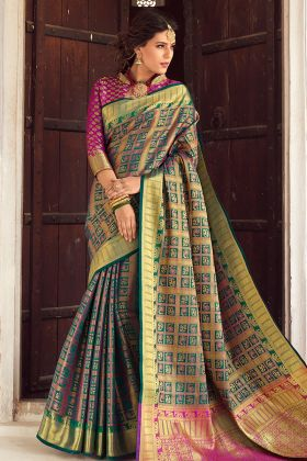 Multi Color Banarasi weaving Silk Designer Saree