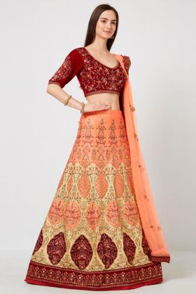 Multi Color Barfi Silk Party wear Designer Lehenga Choli With Resham Embroidery Work
