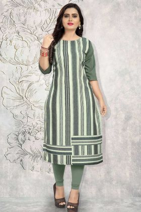 Multi Color Crepe Casual Kurti With Printed Work