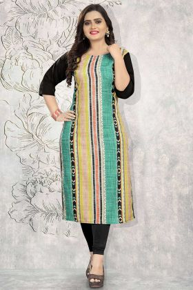 Multi Color Crepe Long Kurti With Printed Work