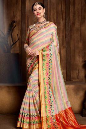 Multi Color Designer Banarasi Saree Online