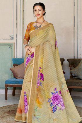 Multi Color Digital Printed Saree