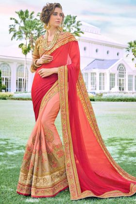 Multi Color Fancy Fabric Designer Saree With Heavy Embroidery Work