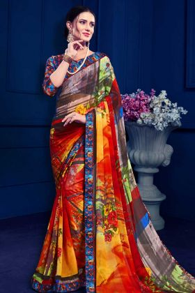 Multi Color Georgette Casual Saree For Daily Wear
