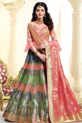 Multi Color Jacquard Silk Lehenga Choli