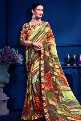 Multi Color Latest Printed Saree