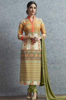 Multi Color Muslin Cotton Dress Material Multi Color With Chiffon Dupatta