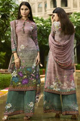 Multi Color Pakistani Dress With Digital Print Work