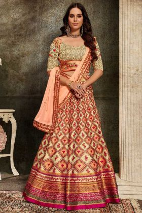 Multi Color Pure Heritage Soft Silk Lehenga With Digital Gown
