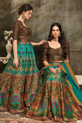 Multi Color Pure Heritage Soft Silk Two In One Lehenga And Gown