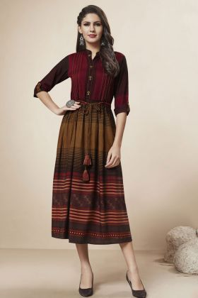 Multi Color Rayon Fancy Kurti