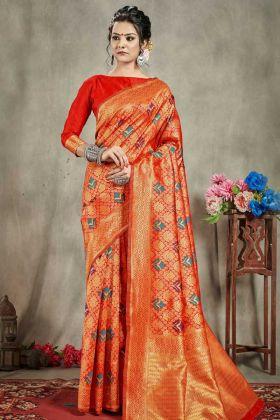 Multi Color Traditional Banarasi Art Silk In Weaving Work