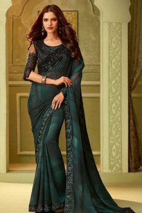 Multi Color Tubelight Georgette Fancy Saree