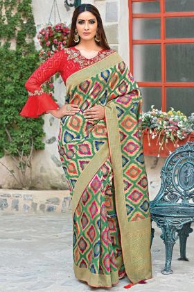 Multi Color Weaved Silk Saree With Jacket Blouse