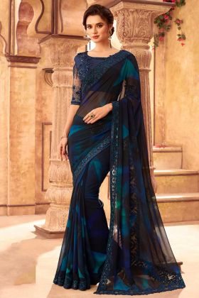 Multicolor Kasta Georgette Designer New Model Sarees
