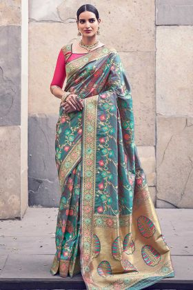 Multicolor Silk Wedding Banarasi Saree